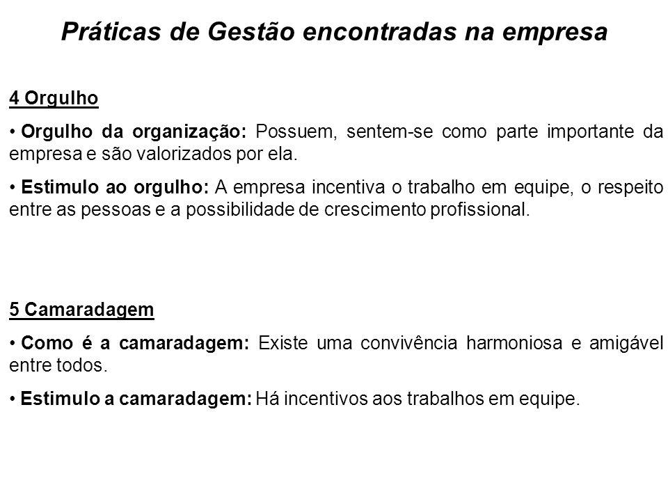Práticas de Gestão encontradas na empresa 4 Orgulho Orgulho da organização: Possuem, sentem-se como parte importante da empresa e são valorizados por ela.