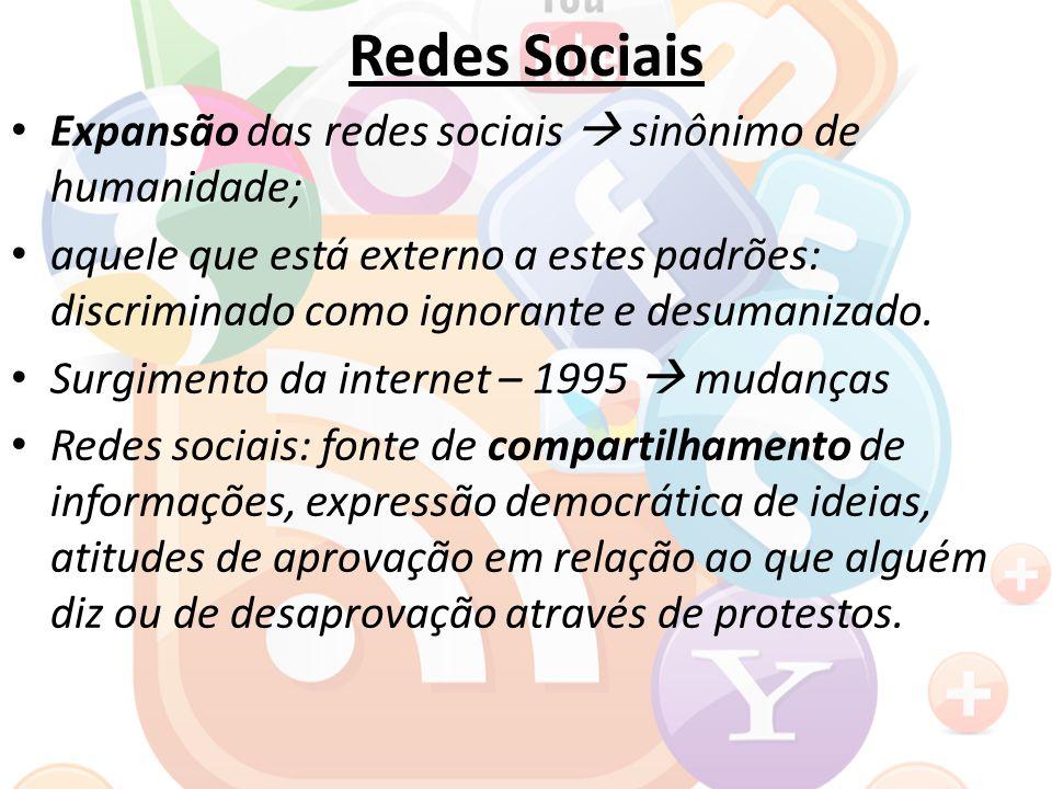 Redes Sociais Expansão das redes sociais  sinônimo de humanidade; aquele que está externo a estes padrões: discriminado como ignorante e desumanizado.