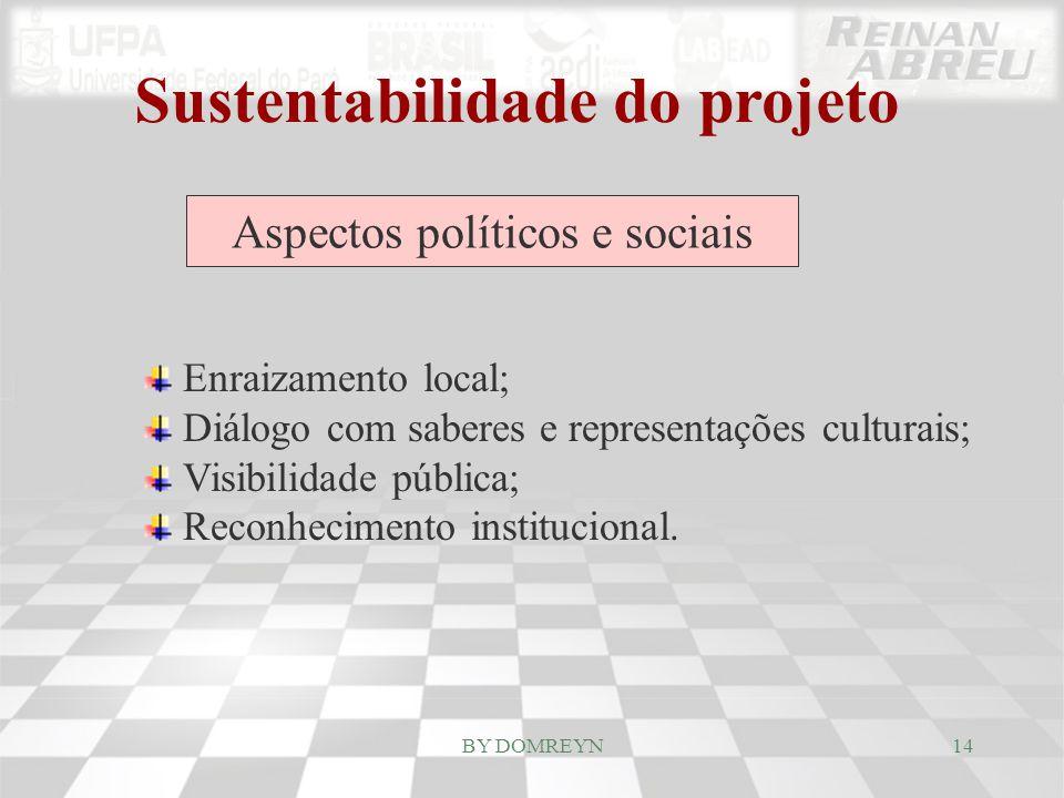 Sustentabilidade do projeto Aspectos políticos e sociais Enraizamento local; Diálogo com saberes e representações culturais; Visibilidade pública; Rec