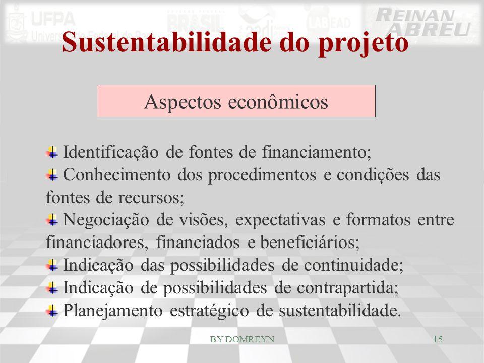 Sustentabilidade do projeto Aspectos econômicos Identificação de fontes de financiamento; Conhecimento dos procedimentos e condições das fontes de rec
