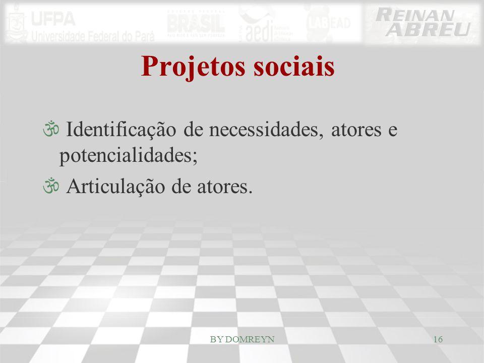 Projetos sociais \ Identificação de necessidades, atores e potencialidades; \ Articulação de atores. 16BY DOMREYN