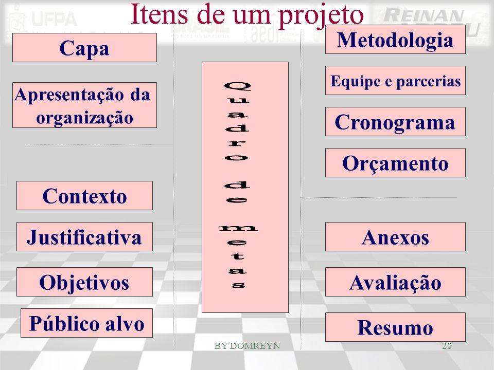 Capa Apresentação da organização Contexto Justificativa Objetivos Público alvo Orçamento Cronograma Equipe e parcerias Metodologia Anexos Avaliação Re