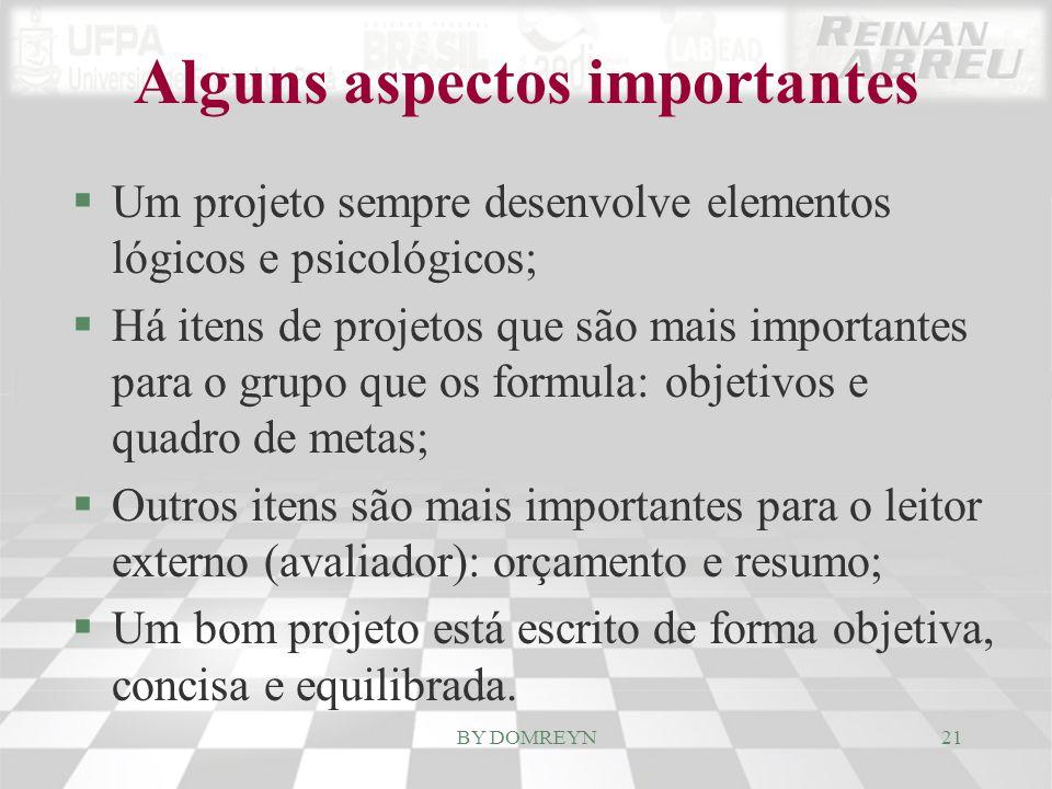 Alguns aspectos importantes §Um projeto sempre desenvolve elementos lógicos e psicológicos; §Há itens de projetos que são mais importantes para o grup