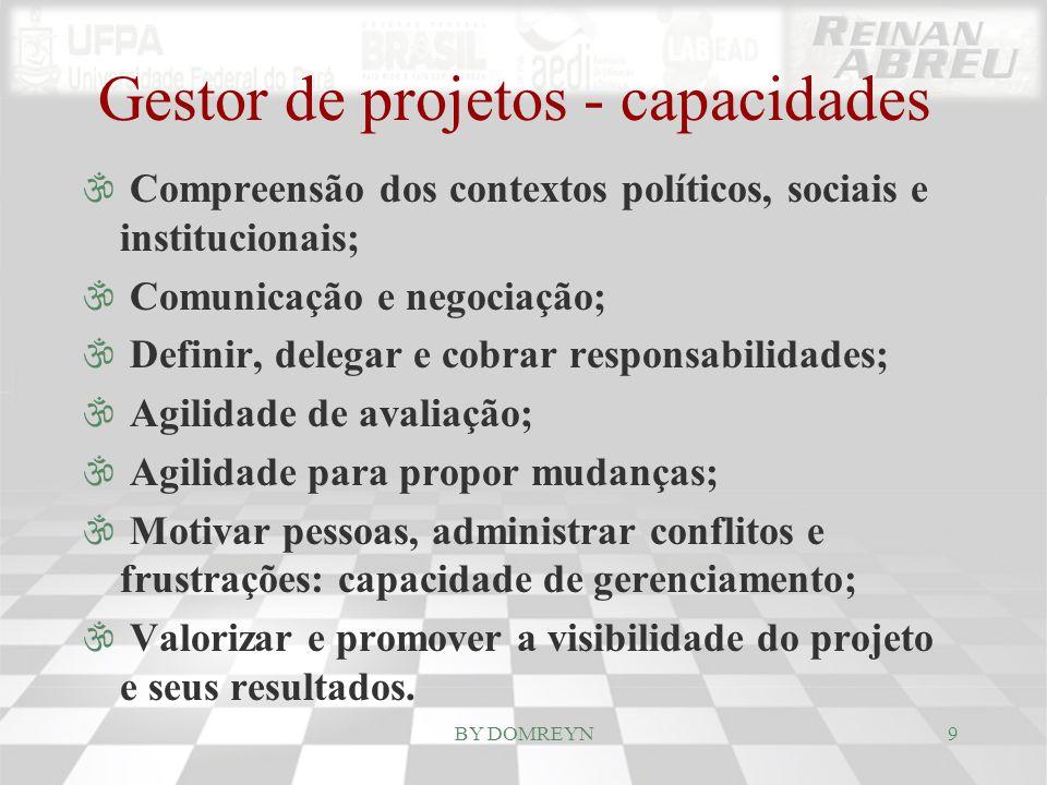 Gestor de projetos - capacidades \ Compreensão dos contextos políticos, sociais e institucionais; \ Comunicação e negociação; \ Definir, delegar e cob