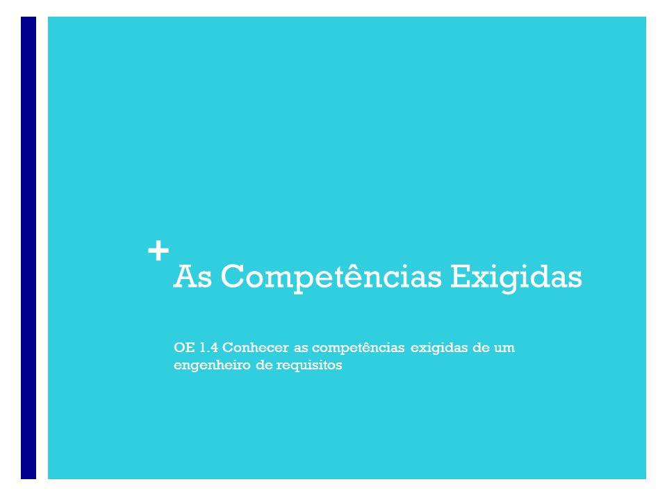 + As Competências Exigidas OE 1.4 Conhecer as competências exigidas de um engenheiro de requisitos