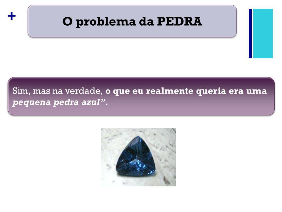 + O problema da PEDRA Quando você lhe entrega a pequena pedra azul, verifica que o cliente realmente desejava era uma pequena pedra esférica e azul.