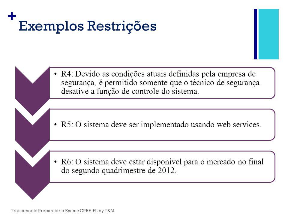 + Exemplos Restrições R4: Devido as condições atuais definidas pela empresa de segurança, é permitido somente que o técnico de segurança desative a fu