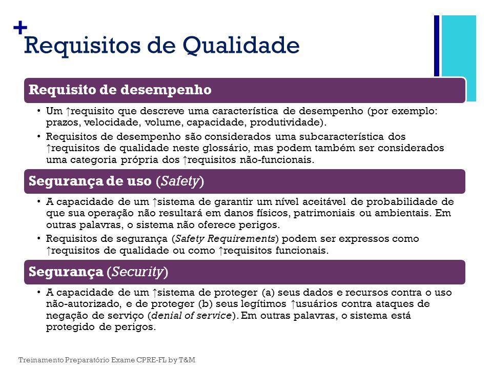 + Requisitos de Qualidade Requisito de desempenho Um ↑ requisito que descreve uma característica de desempenho (por exemplo: prazos, velocidade, volum