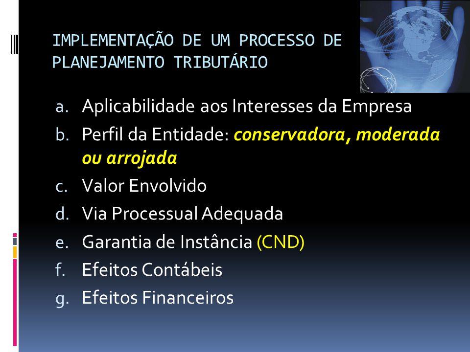IMPLEMENTAÇÃO DE UM PROCESSO DE PLANEJAMENTO TRIBUTÁRIO a.