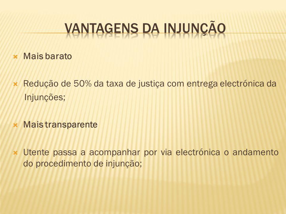  Mais barato  Redução de 50% da taxa de justiça com entrega electrónica da Injunções;  Mais transparente  Utente passa a acompanhar por via electrónica o andamento do procedimento de injunção;