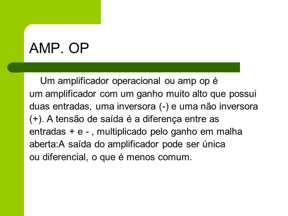 AMP. OP Um amplificador operacional ou amp op é um amplificador com um ganho muito alto que possui duas entradas, uma inversora (-) e uma não inversor