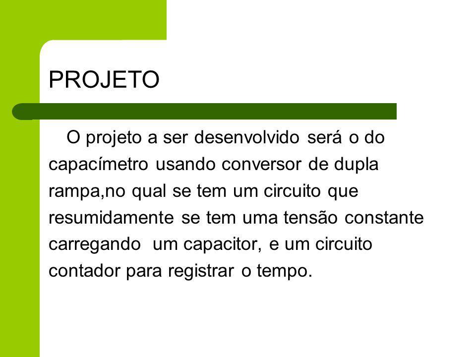 PROJETO O projeto a ser desenvolvido será o do capacímetro usando conversor de dupla rampa,no qual se tem um circuito que resumidamente se tem uma ten