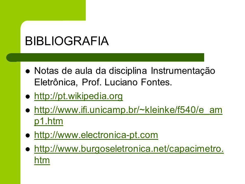 BIBLIOGRAFIA Notas de aula da disciplina Instrumentação Eletrônica, Prof. Luciano Fontes. http://pt.wikipedia.org http://www.ifi.unicamp.br/~kleinke/f