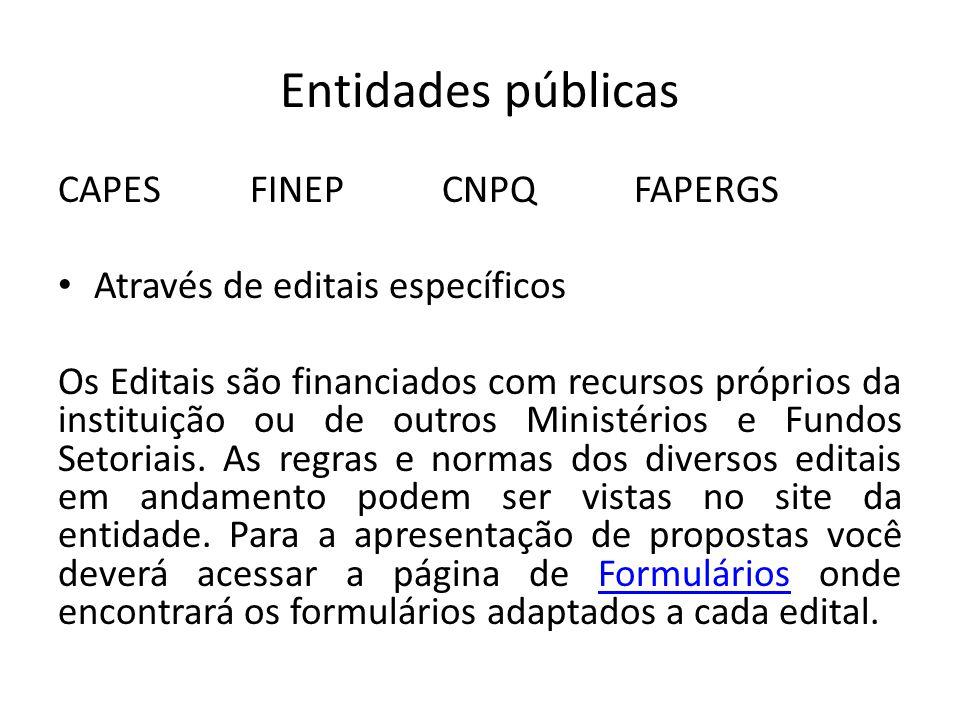 Entidades públicas CAPES FINEP CNPQ FAPERGS Através de editais específicos Os Editais são financiados com recursos próprios da instituição ou de outros Ministérios e Fundos Setoriais.
