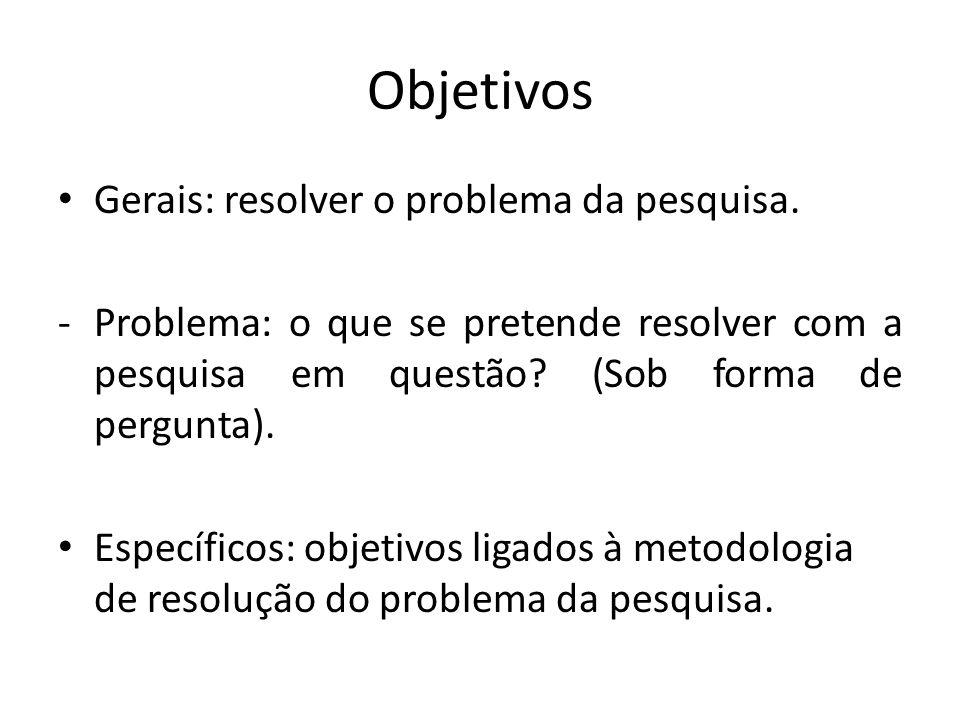 Objetivos Gerais: resolver o problema da pesquisa.
