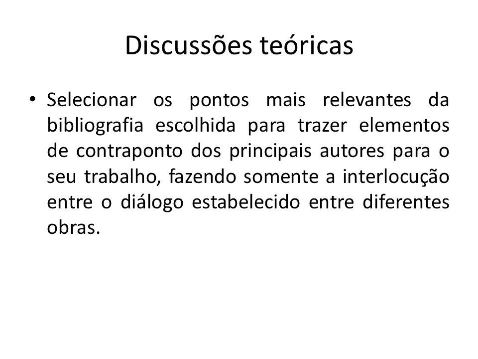 Discussões teóricas Selecionar os pontos mais relevantes da bibliografia escolhida para trazer elementos de contraponto dos principais autores para o seu trabalho, fazendo somente a interlocução entre o diálogo estabelecido entre diferentes obras.
