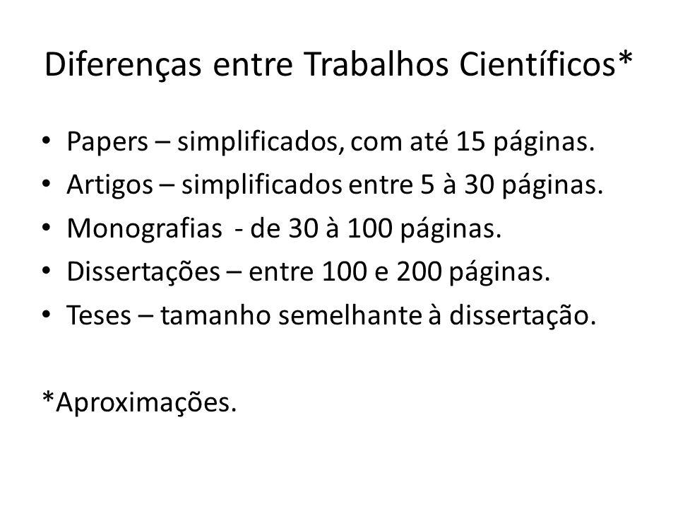 Diferenças entre Trabalhos Científicos* Papers – simplificados, com até 15 páginas.