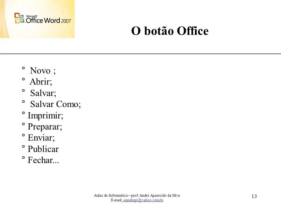 XP 13 O botão Office ° Novo ; ° Abrir; ° Salvar; ° Salvar Como; ° Imprimir; ° Preparar; ° Enviar; ° Publicar ° Fechar... Aulas de Informática – prof.