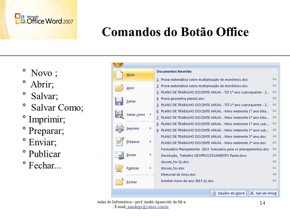 XP 14 Comandos do Botão Office ° Novo ; ° Abrir; ° Salvar; ° Salvar Como; ° Imprimir; ° Preparar; ° Enviar; ° Publicar ° Fechar... Aulas de Informátic