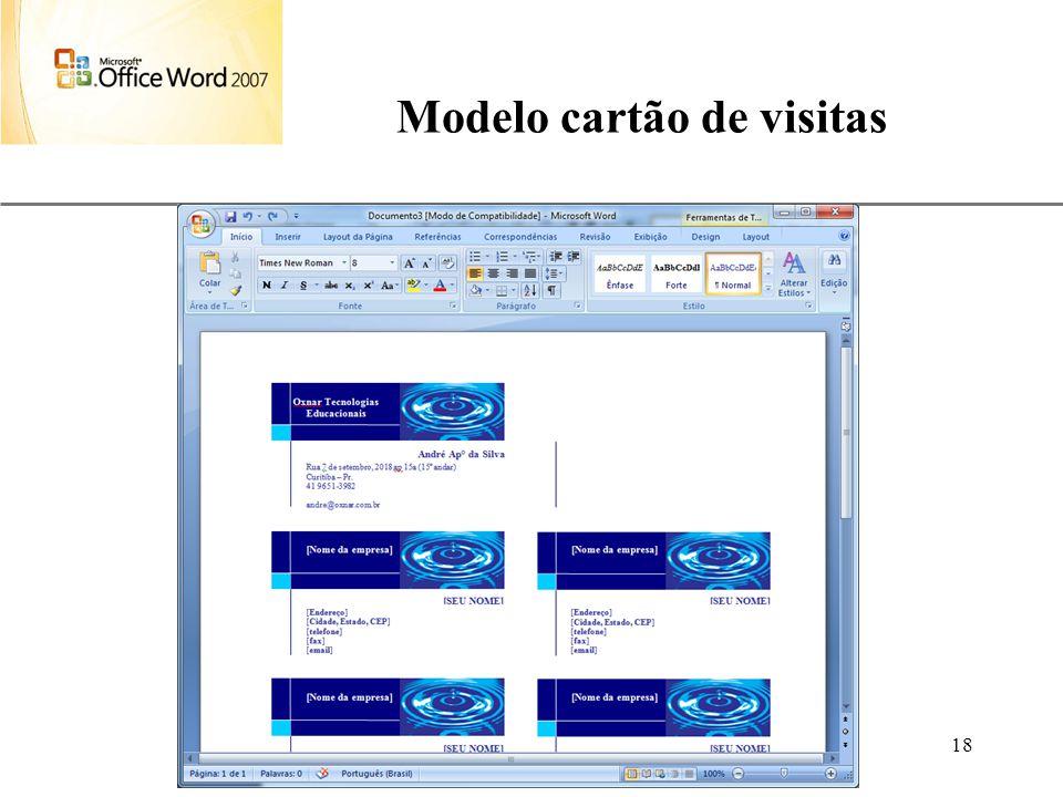 XP Aulas de Informática anndrepr@yahoo.com.br 18 Modelo cartão de visitas