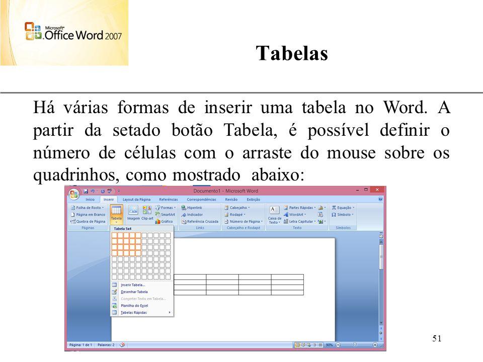 XP Aulas de Informática anndrepr@yahoo.com.br 51 Tabelas Há várias formas de inserir uma tabela no Word. A partir da setado botão Tabela, é possível d