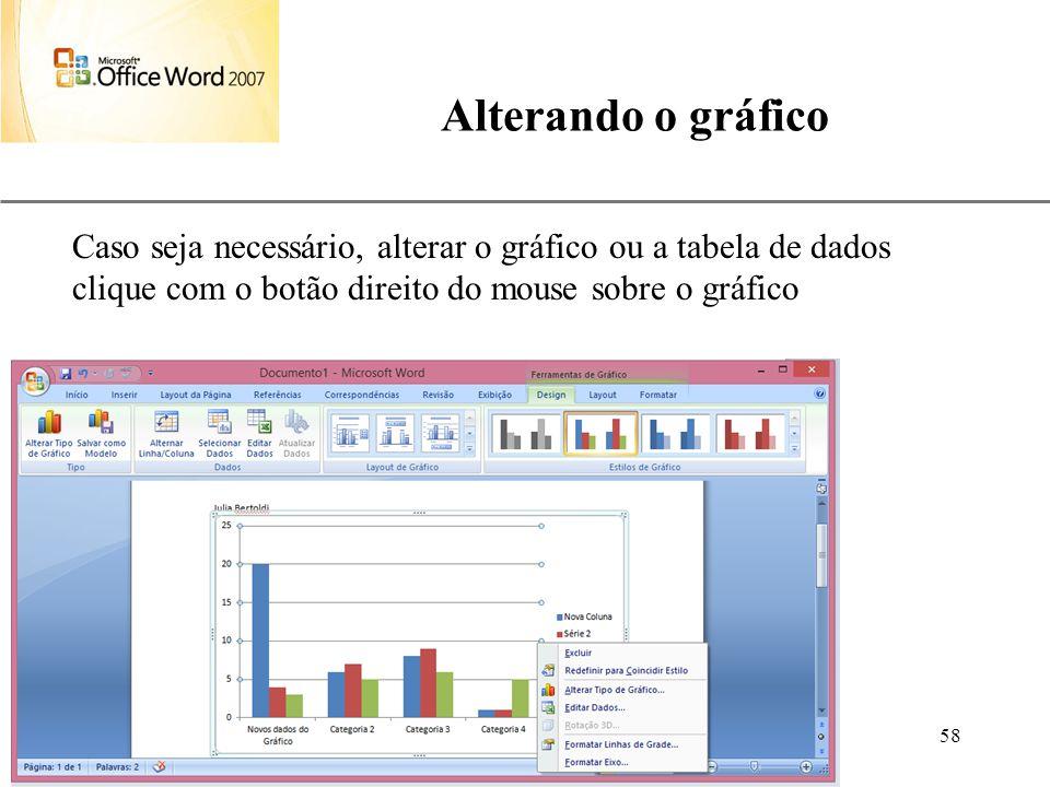 XP Aulas de Informática anndrepr@yahoo.com.br 58 Alterando o gráfico Caso seja necessário, alterar o gráfico ou a tabela de dados clique com o botão d