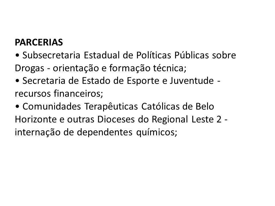 PARCERIAS Subsecretaria Estadual de Políticas Públicas sobre Drogas - orientação e formação técnica; Secretaria de Estado de Esporte e Juventude - rec