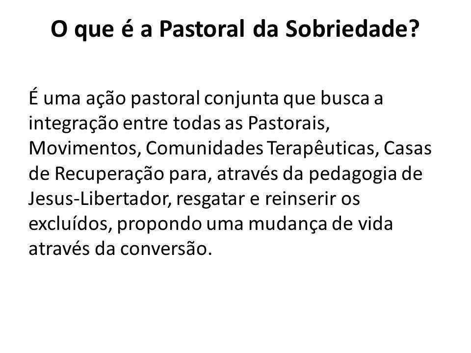 O que é a Pastoral da Sobriedade? É uma ação pastoral conjunta que busca a integração entre todas as Pastorais, Movimentos, Comunidades Terapêuticas,
