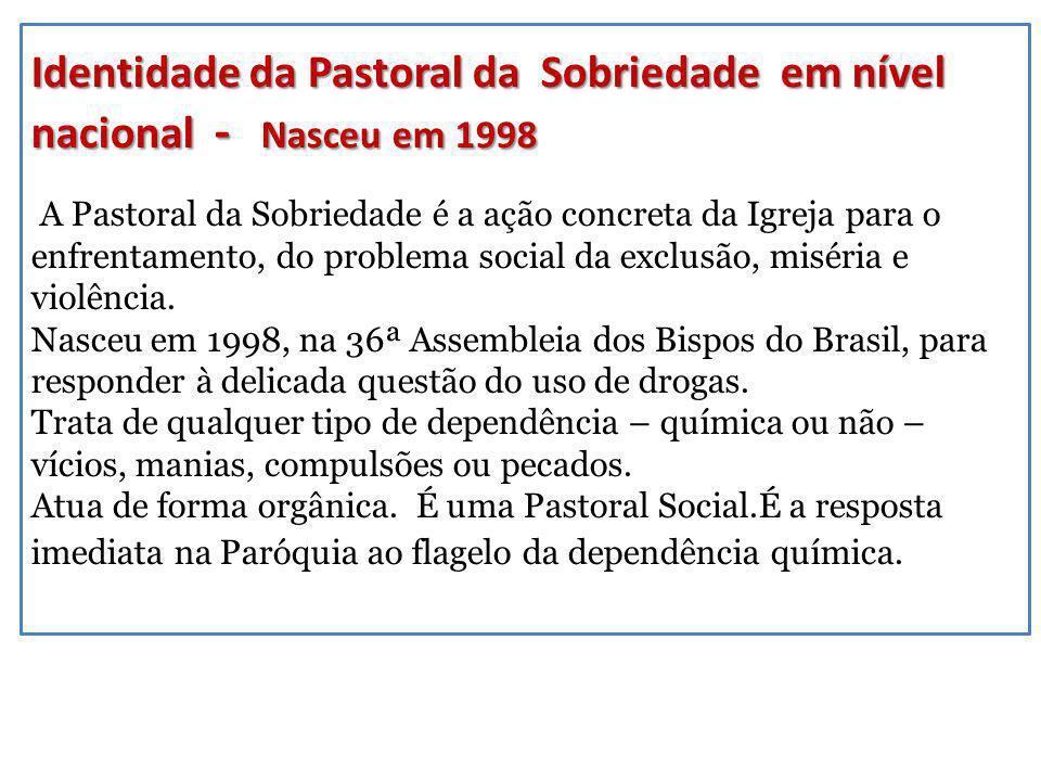 Identidade da Pastoral da Sobriedade em nível nacional - Nasceu em 1998 Identidade da Pastoral da Sobriedade em nível nacional - Nasceu em 1998 A Past