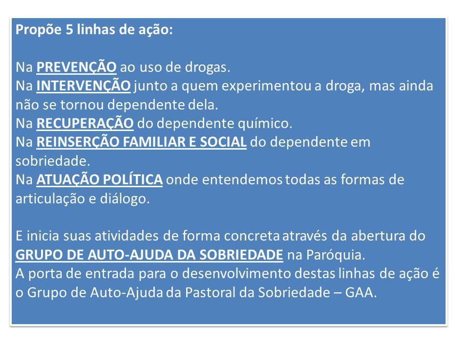 Propõe 5 linhas de ação: Na PREVENÇÃO ao uso de drogas. Na INTERVENÇÃO junto a quem experimentou a droga, mas ainda não se tornou dependente dela. Na