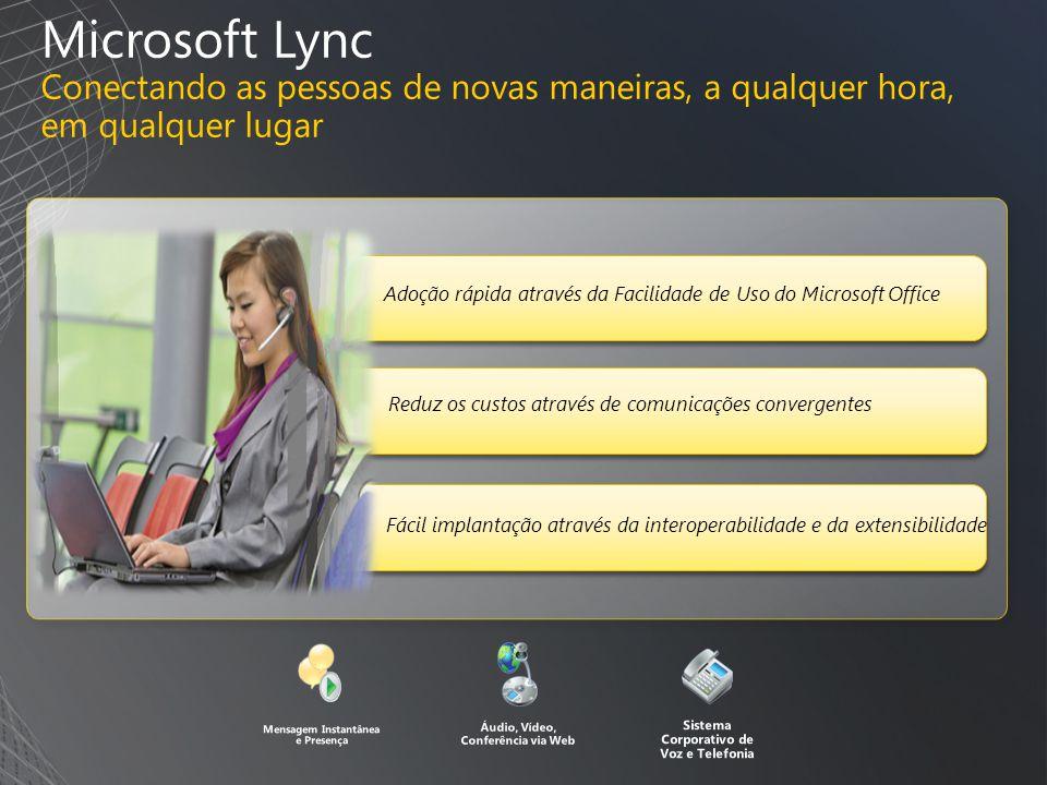 Microsoft Lync Conectando as pessoas de novas maneiras, a qualquer hora, em qualquer lugar Fácil implantação através da interoperabilidade e da extensibilidade Mensagem Instantânea e Presença Áudio, Vídeo, Conferência via Web Sistema Corporativo de Voz e Telefonia Reduz os custos através de comunicações convergentes Adoção rápida através da Facilidade de Uso do Microsoft Office