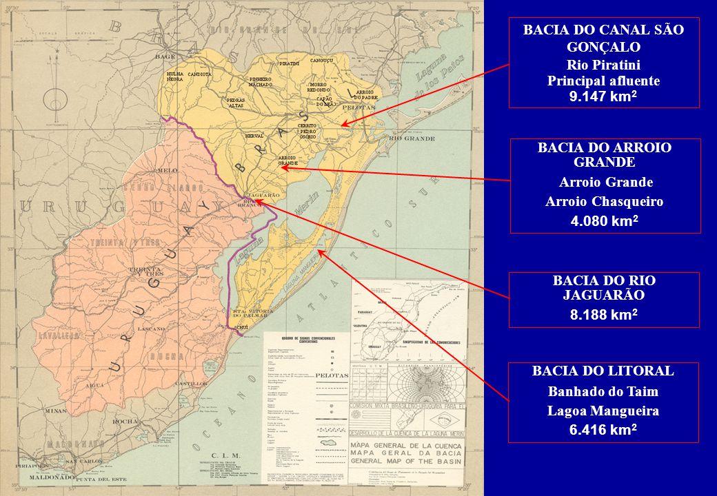 BACIA DO CANAL SÃO GONÇALO Rio Piratini Principal afluente 9.147 km 2 BACIA DO ARROIO GRANDE Arroio Grande Arroio Chasqueiro 4.080 km 2 BACIA DO RIO JAGUARÃO 8.188 km 2 BACIA DO LITORAL Banhado do Taim Lagoa Mangueira 6.416 km 2