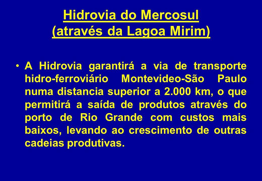 Hidrovia do Mercosul (através da Lagoa Mirim) A Hidrovia garantirá a via de transporte hidro-ferroviário Montevideo-São Paulo numa distancia superior a 2.000 km, o que permitirá a saída de produtos através do porto de Rio Grande com custos mais baixos, levando ao crescimento de outras cadeias produtivas.