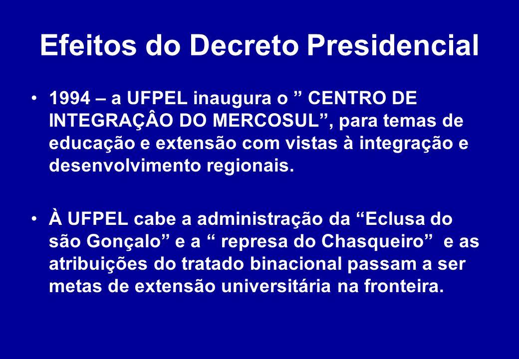 Efeitos do Decreto Presidencial 1994 – a UFPEL inaugura o CENTRO DE INTEGRAÇÂO DO MERCOSUL , para temas de educação e extensão com vistas à integração e desenvolvimento regionais.