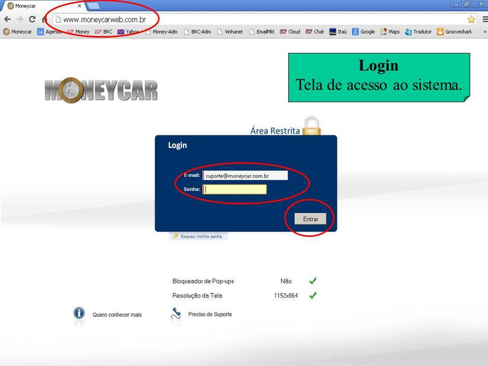 Login Tela de acesso ao sistema.