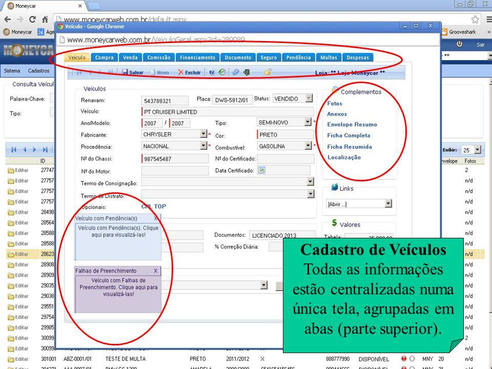 Cadastro de Veículos Todas as informações estão centralizadas numa única tela, agrupadas em abas (parte superior).
