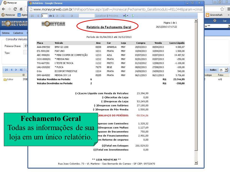 Fechamento Geral Todas as informações de sua loja em um único relatório.