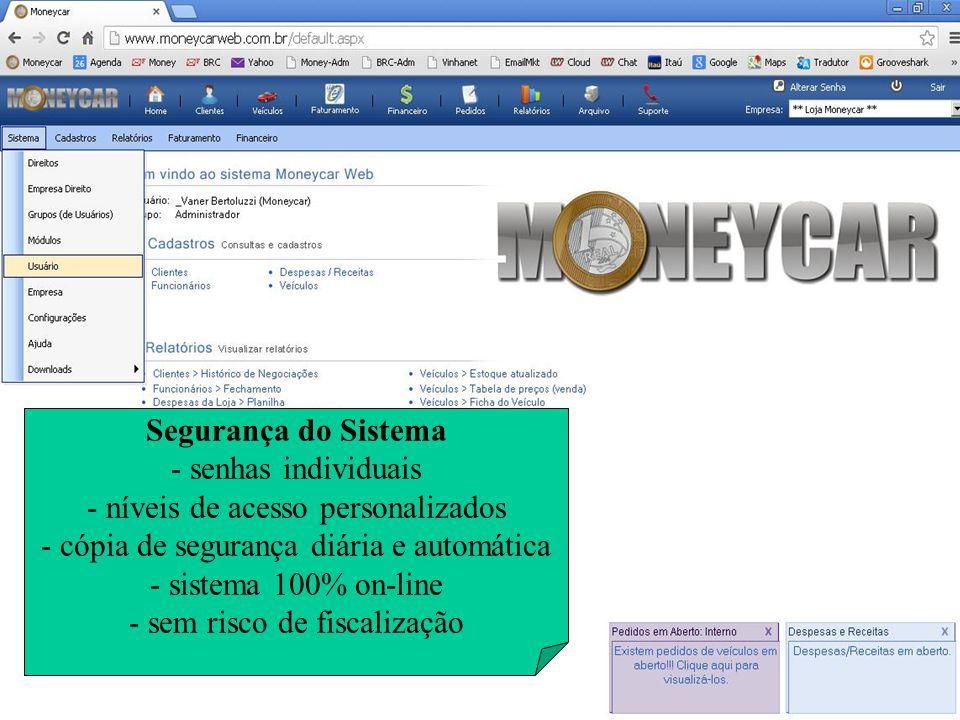 Segurança do Sistema - senhas individuais - níveis de acesso personalizados - cópia de segurança diária e automática - sistema 100% on-line - sem risc