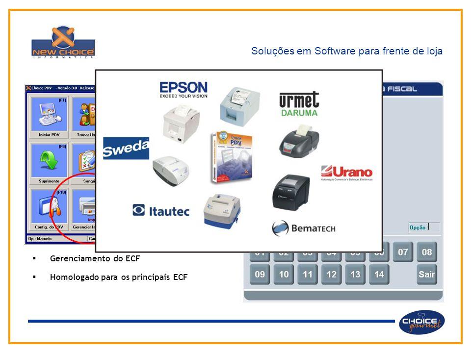 Soluções em Software para frente de loja Através do menu principal o usuário tem acesso aos diversos módulos e funções do sistema.  Gerenciamento do