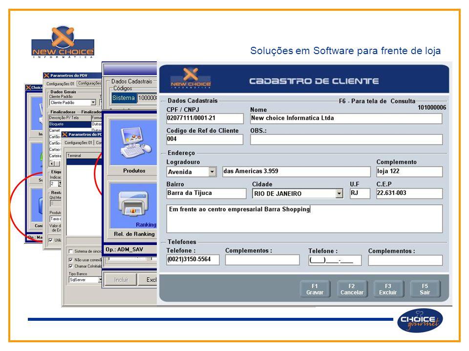 Soluções em Software para frente de loja Através do menu principal o usuário tem acesso aos diversos módulos e funções do sistema.  Configuração do P
