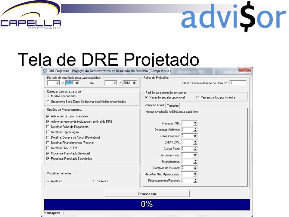 www.advisormanager.com.br Tela de DRE Projetado