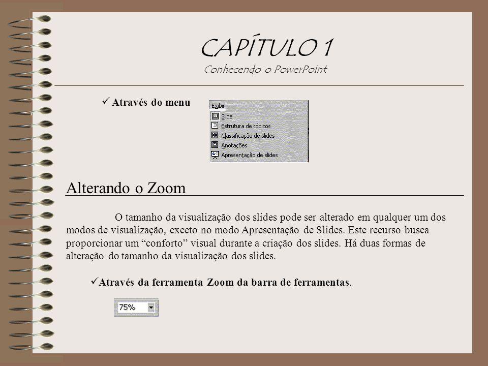 CAPÍTULO 1 Conhecendo o PowerPoint Através do menu Alterando o Zoom O tamanho da visualização dos slides pode ser alterado em qualquer um dos modos de