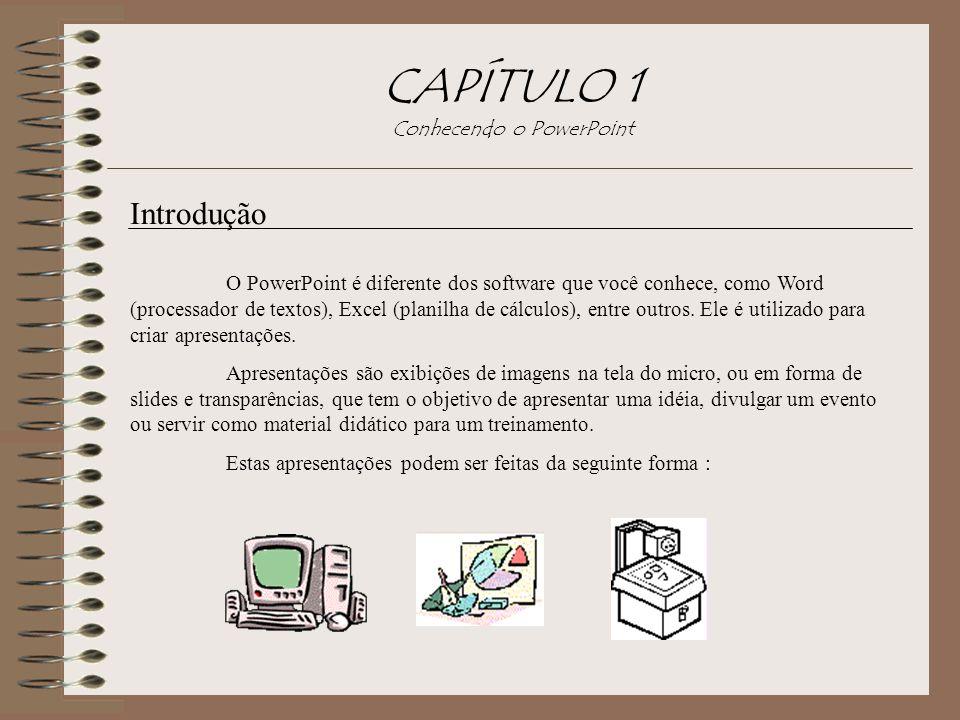 CAPÍTULO 1 Conhecendo o PowerPoint Introdução O PowerPoint é diferente dos software que você conhece, como Word (processador de textos), Excel (planil