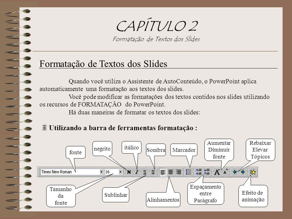 CAPÍTULO 2 Formatação de Textos dos Slides Formatação de Textos dos Slides Quando você utiliza o Assistente de AutoConteúdo, o PowerPoint aplica autom