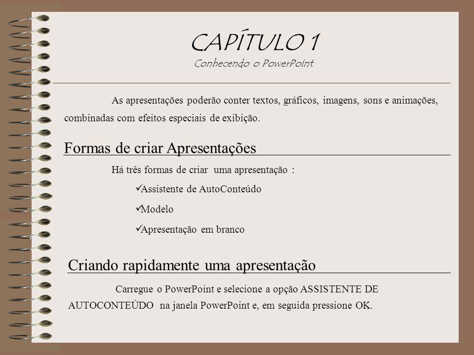 CAPÍTULO 1 Conhecendo o PowerPoint As apresentações poderão conter textos, gráficos, imagens, sons e animações, combinadas com efeitos especiais de ex