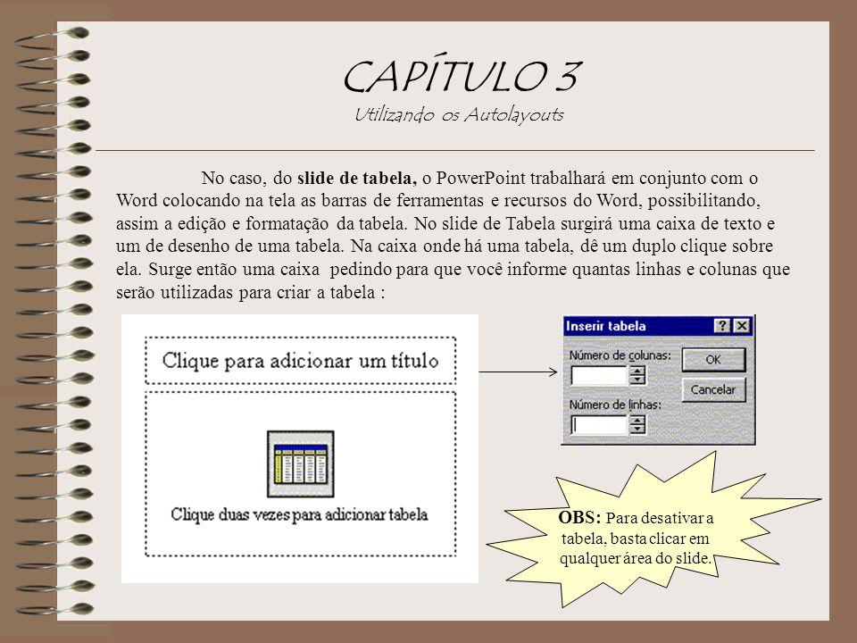 CAPÍTULO 3 Utilizando os Autolayouts No caso, do slide de tabela, o PowerPoint trabalhará em conjunto com o Word colocando na tela as barras de ferram