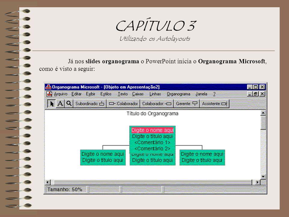 Já nos slides organograma o PowerPoint inicia o Organograma Microsoft, como é visto a seguir: CAPÍTULO 3 Utilizando os Autolayouts