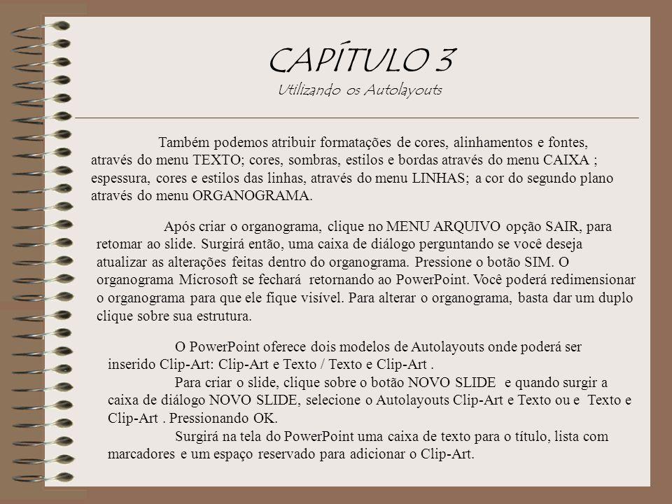 CAPÍTULO 3 Utilizando os Autolayouts Também podemos atribuir formatações de cores, alinhamentos e fontes, através do menu TEXTO; cores, sombras, estil