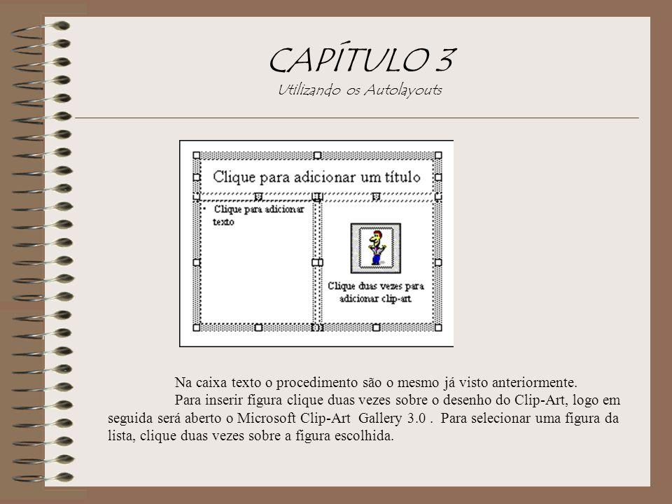 CAPÍTULO 3 Utilizando os Autolayouts Na caixa texto o procedimento são o mesmo já visto anteriormente. Para inserir figura clique duas vezes sobre o d