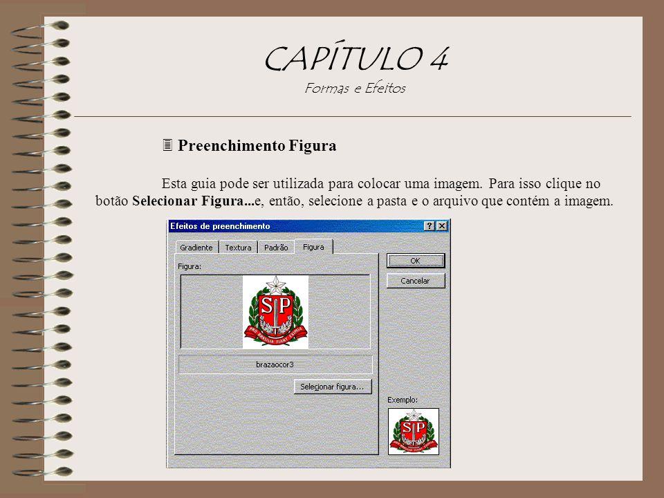 3 Preenchimento Figura Esta guia pode ser utilizada para colocar uma imagem. Para isso clique no botão Selecionar Figura...e, então, selecione a pasta